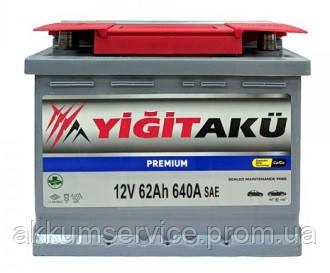 Аккумулятор автомобильный Yigit Aku Premium RED T9 62AH R+ 640A h175