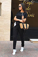 Женский летний костюм-двойка брюки с лампасом и блуза