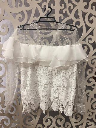 """Стильная женская блузка с воланом """"Кружево на подкладе"""" 42, 44, 46 размер норма, фото 2"""