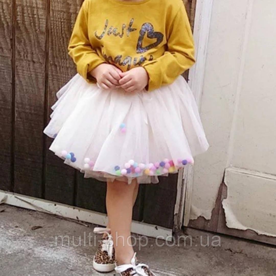 Юбка с помпонами для девочки, фото 1