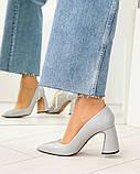 Туфли женские  на удобном каблуке серые, фото 4