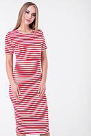 Летнее платье для беременных и кормящих (миди) Lullababe Barcelona Красный с белым