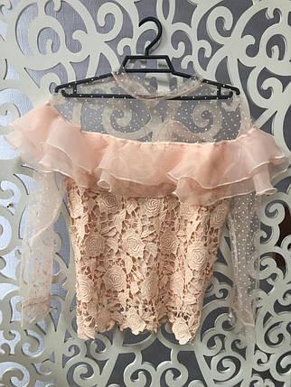 """Стильная женская блузка с воланом и вставками из сеточки ткань """"Кружево на подкладе"""" 42, 44 размер норма, фото 2"""