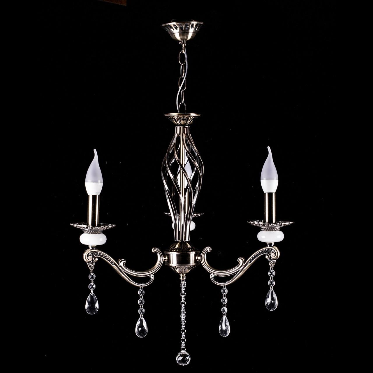 Классическая люстра-свеча на 3 лампочки античная бронза СветМира PM-3609/3