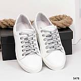 Белые женские кожаные кеды с серебрянными вставками, фото 3