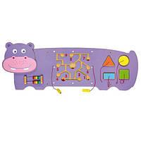 """Настенная игрушка бизиборд Viga Toys """"Бегемот"""" (50470)"""