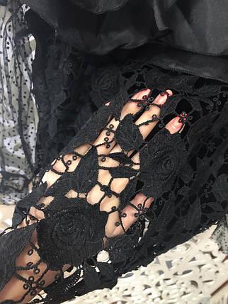 """Стильная женская блузка с воланом из органзы """"Кружево на подкладе"""" 42, 44, 46 размер норма, фото 2"""