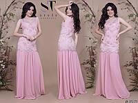 Красивое силуэтное женское платье в пол юбка шифоновая верх с отделкой вышивки на сетке со стразами 42, 44, 46
