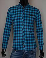 Мужская кашемировая рубашка в клетку бирюза Турция 2174