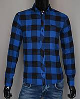 Мужская кашемировая рубашка в клетку синяя Турция 2170