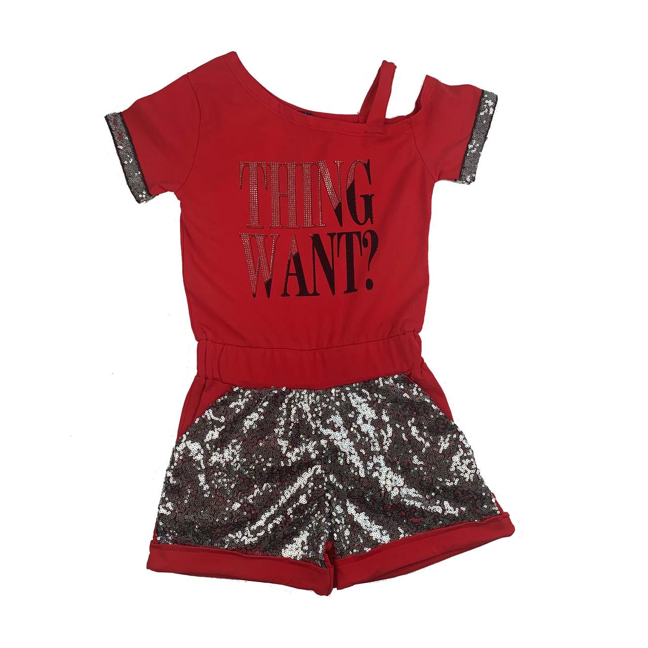 Стильный комбинезон с шортами на девочку 7-10 лет