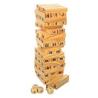 Настольная игра Дженга Вежа, деревянная на 51 блок с цифрам