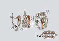 Серебряный гарнитур с золотом и фианитом Таисия
