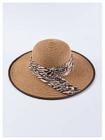 Коричневая пляжная широкополая шляпа с ленточкой