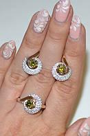 Серебряный набор с золотом и камнями №64н, фото 1