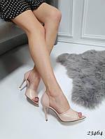 Женские  туфли бежевые  каблук высота 9,5 см
