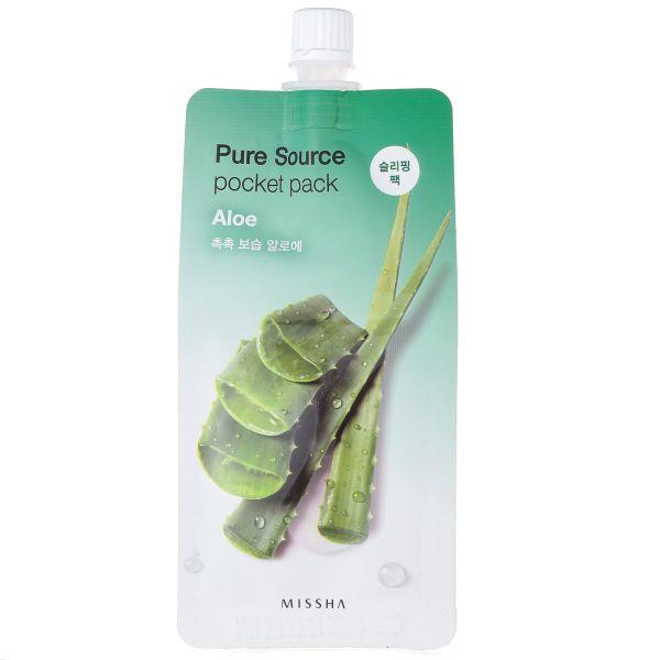 Ночная маска с экстрактом алое Missha Pure Source Pocket Pack Aloe