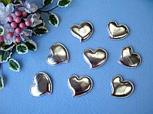 Патчи сердечки серебрянные из эко-кожи d - 5 см. 2.5 грн  от 10 шт