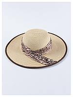 Пляжная женская шляпа с широкими полями бежевая