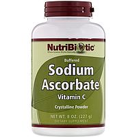Витамин С буферизованный содой, NutriBiotic, Sodium Ascorbate with Vitamin C, кристаллический порошок, 227 г