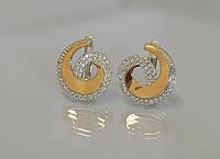 Серьги серебряные с золотыми пластинами , фото 1
