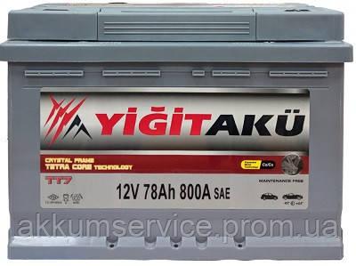 Аккумулятор автомобильный Yigit Aku Grey TT7 78AH R+ 800A