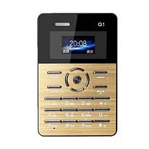 Мини мобильный маленький телефон Card Phone Q1 Gold