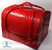 Сумка кейс чемодан косметолога Бьюти кейс кожзам красный крокодил для мастеров