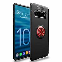 TPU чехол Deen ColorRing с креплением под магнитный держатель для Samsung Galaxy S10 (Черный / Красный)