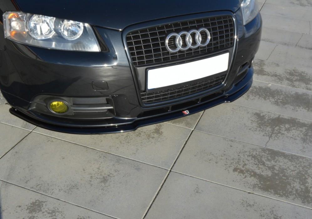 Диффузор губа юбка переднего бампера тюнинг Audi A3 8p (05-08) Sportback S-Line
