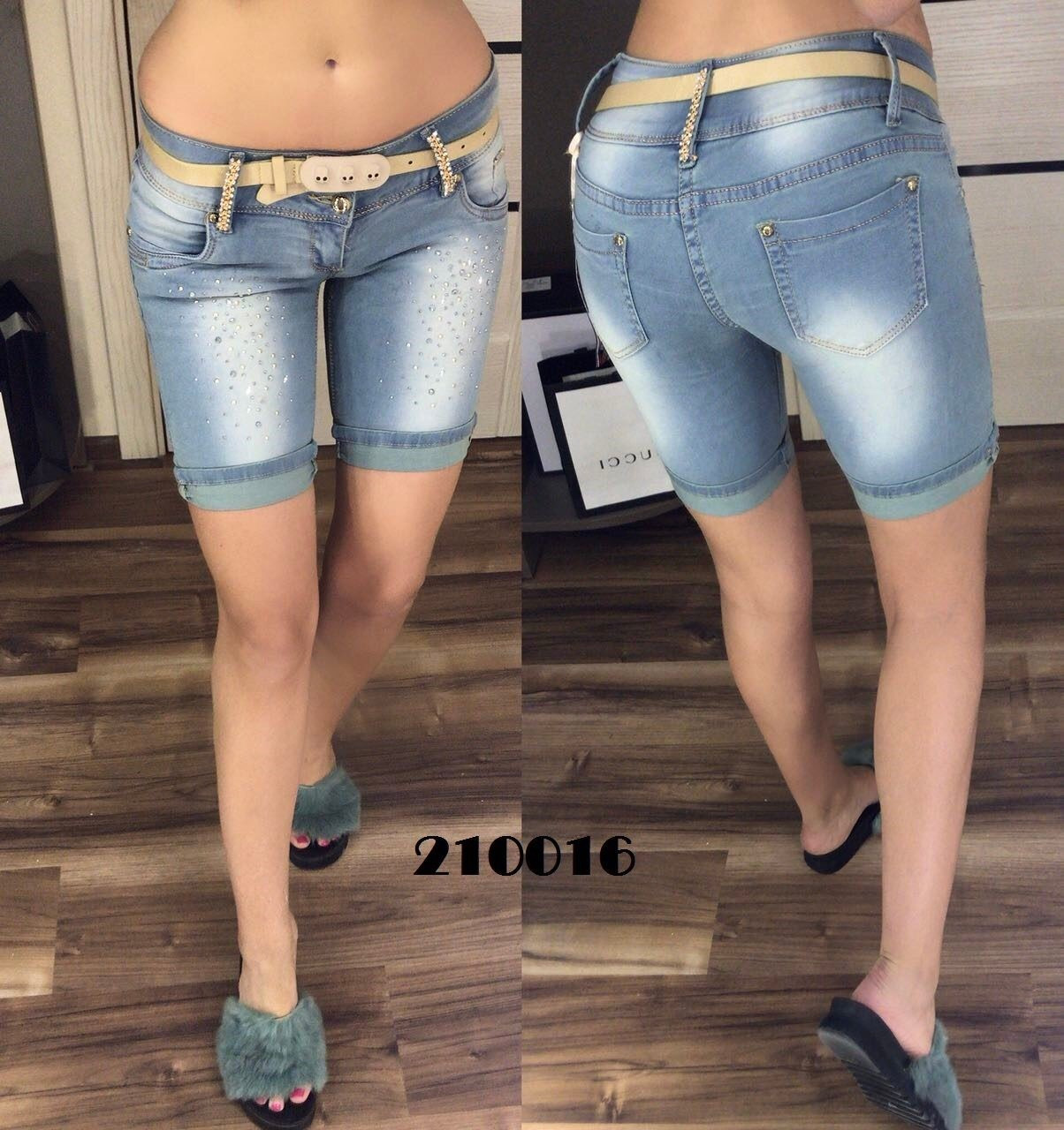"""Стильные женские шортики поясок в комплекте ткань """"Джинс""""  42 размер норма"""
