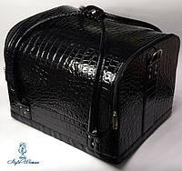 Сумка кейс чемодан косметолога Бьюти кейс кожзам черный шоколад крокодил для мастеров