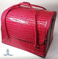Сумка кейс чемодан косметолога Бьюти кейс кожзам розовый крокодил для мастеров