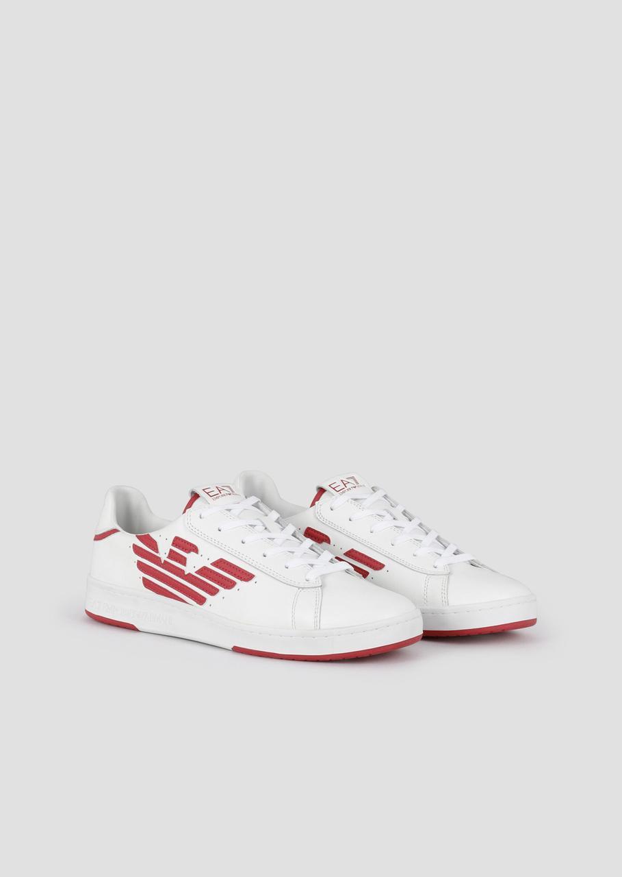 Кроссовки кожанные Sneakers Emporio Armani EA7. Оригинал