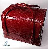 Сумка кейс чемодан косметолога Бьюти кейс кожзам бордовый крокодил для мастеров