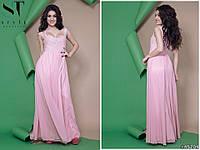 Обворожительное приталенное женское платье в пол с красивым декольте декорировано вышивкой на сетке  42,44,46