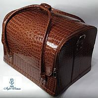 Сумка кейс чемодан косметолога Бьюти кейс кожзам кофе крокодил для мастеров