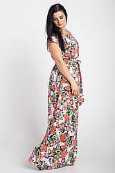 Красивое длинное летнее платье с цветочным принтом
