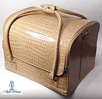 Сумка кейс чемодан косметолога Бьюти кейс кожзам бежевый крокодил для мастеров