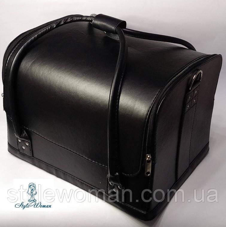 Сумка кейс валізу косметолога Б'юті кейс чорний кожзам для майстрів