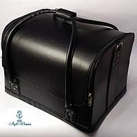 Сумка кейс чемодан косметолога Бьюти кейс черный кожзам для мастеров