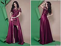 Роскошное женское платье с отделкой вышивки на сетке с длинной атласной юбкой под пояс 42, 44, 46