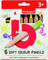 Набор детских цветных карандашей, 6цв., мягкие, + точилка для карандашей, Bruynzeel