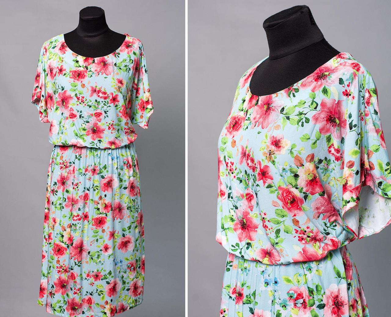 """Модное женское платье с цветочным принтом ткань """"штапель"""" 52 размер батал"""