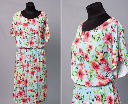 """Модное женское платье с цветочным принтом ткань """"штапель"""" 52 размер батал, фото 2"""