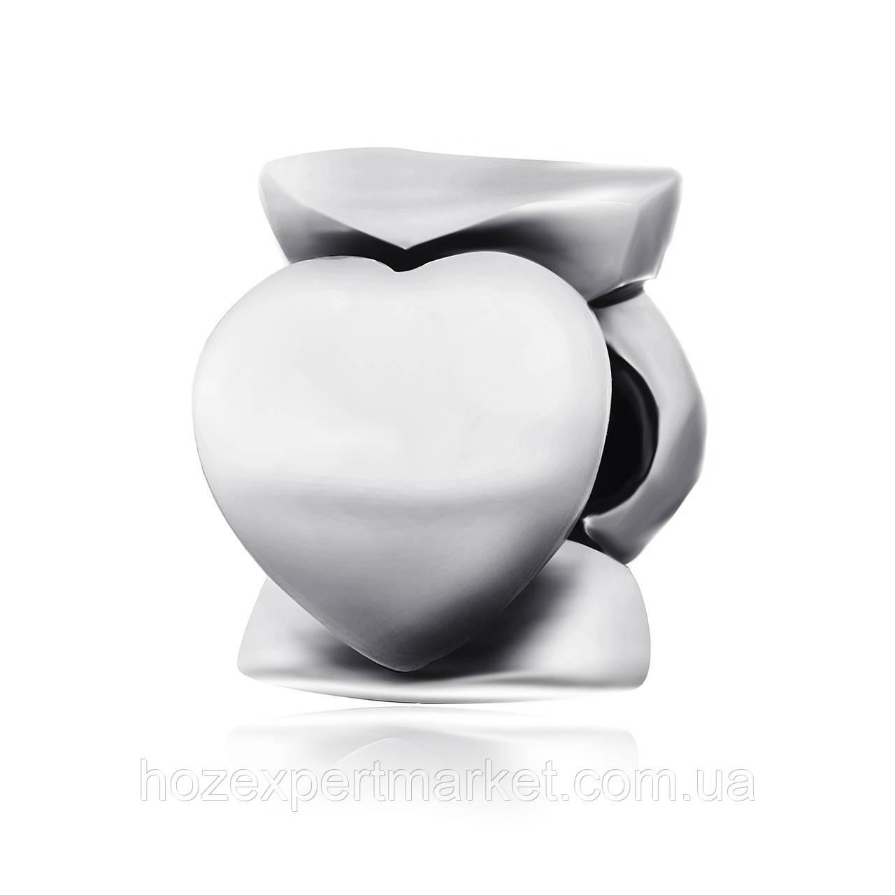 """Серебряная бусина - """"Сердца"""" П5/733"""