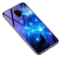 TPU+Glass чехол Fantasy с глянцевыми торцами для Samsung Galaxy S9 (Лунная ночь)