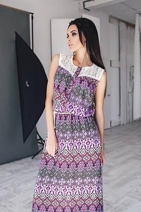 """Стильное женское платье в пол с кружевом ткань """"штапель"""" на подкладке 52 размер батал, фото 2"""