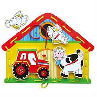 """Шнуровка Viga Toys """"Ферма"""" из качественной древесины - развивающая игра для детей 3+"""