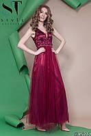 Красивое женское платье в пол пышная юбка из евро сетки верх с отделкой вышивки на сетке с цветочками 42,44,46